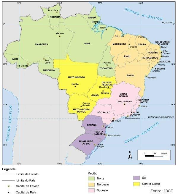 mapa do brasil com capitais Capitais do Brasil   Toda Matéria mapa do brasil com capitais