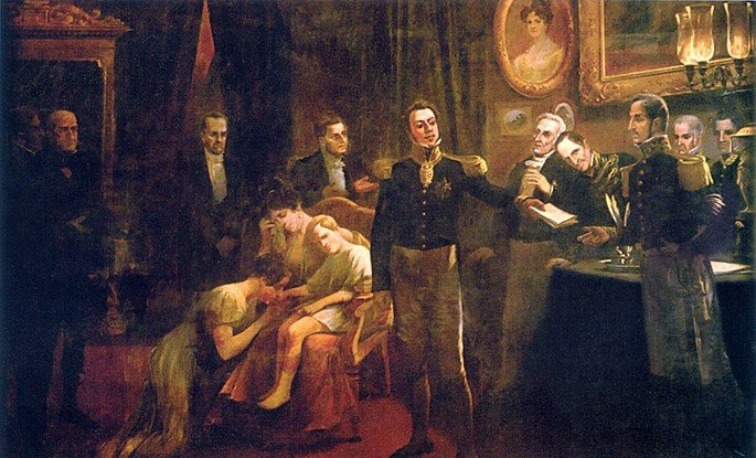 Dom Pedro I em uniforme militar entrega para para Miguel de Frias a abdicação ao trono. Atrás dele, sentados, a imperatriz dona Amélia chora e amparando D. Pedro II
