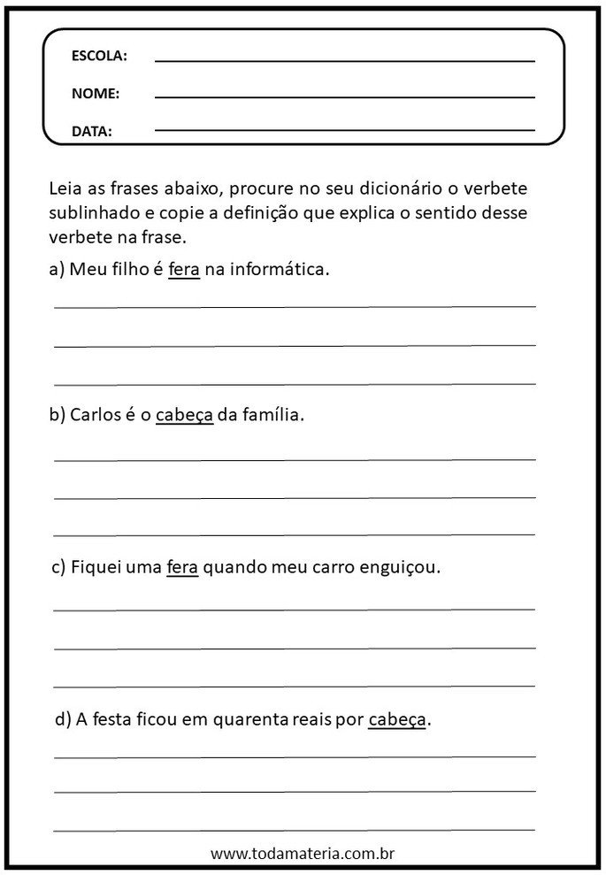 Atividades de português sobre polissemia e consulta de verbetes no dicionário
