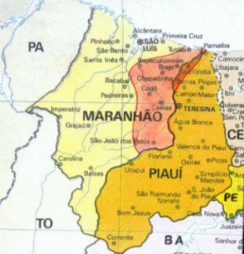 Mapa das lutas ocorridas na Balaiada