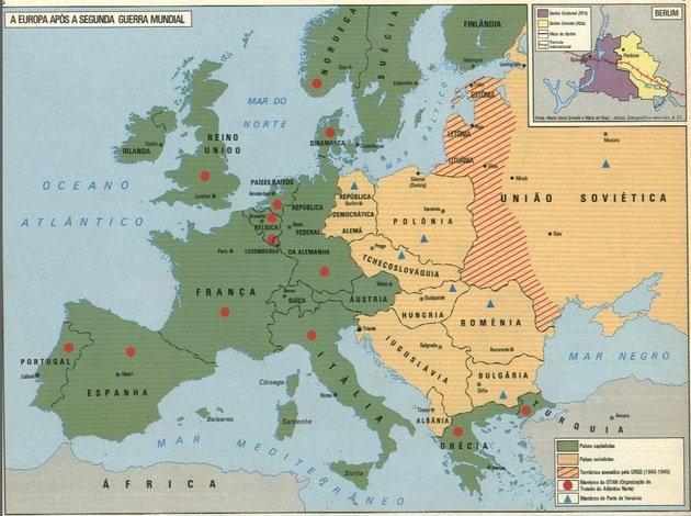 Mapa da Europa depois da Segunda Guerra