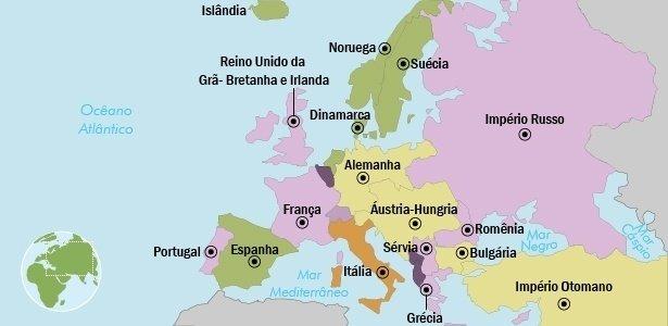 Mapa da europa antes da Primeira Guerra