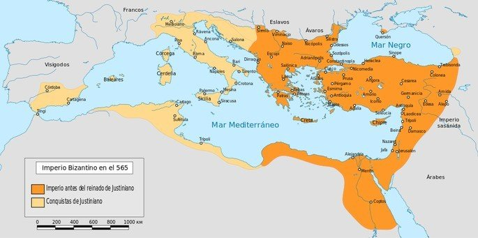 Mapa do Império Bizantino sob o reinado do Imperador Justianiano