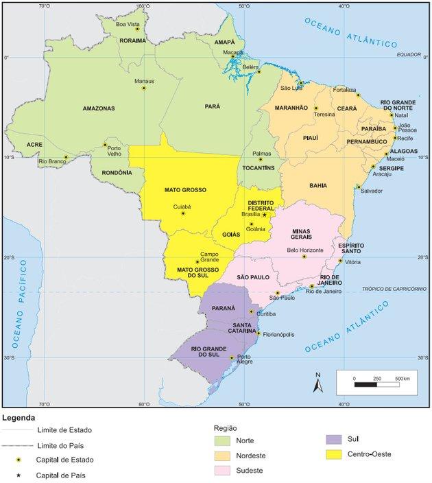 Mapa político do Brasil com suas regiões em destaque