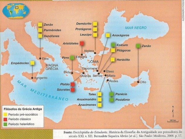 mapa grécia antiga filosofia