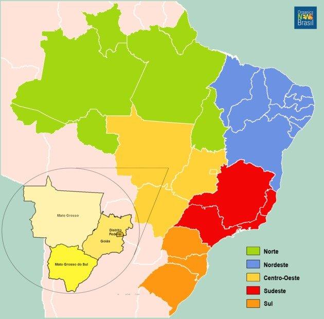 Mapa do Brasil com destaque para a região centro-oeste