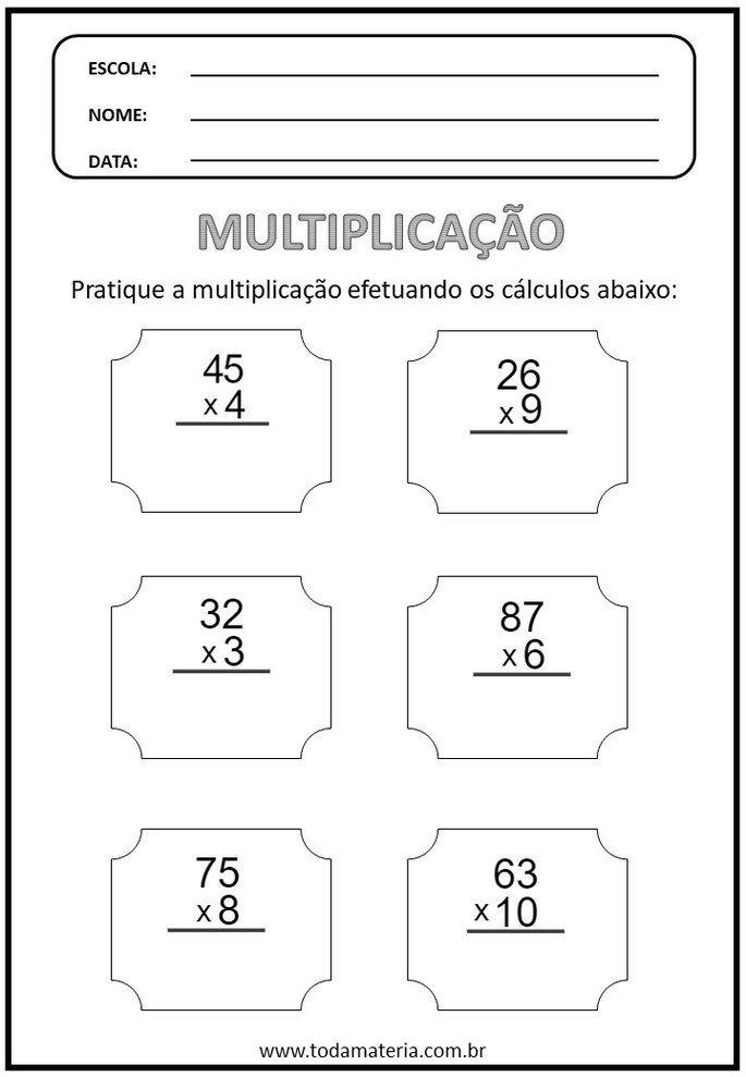 Operações de multiplicação