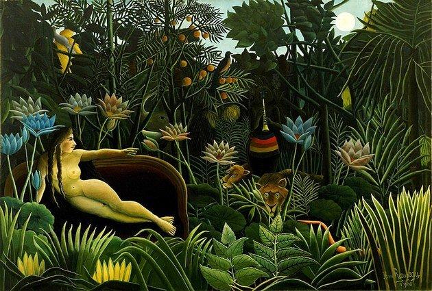 O sonho (1910), do francês Henri Rousseau é um exemplo de pintura naïf