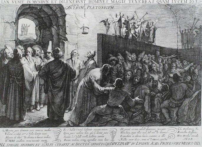 Imagem representativa do Mito da Caverna por Jan Sanraedam (1604)